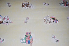 Nursery Wallpaper w/ Bunnies, Pink Patchwork Kittens, Blocks, Toys [W1037]