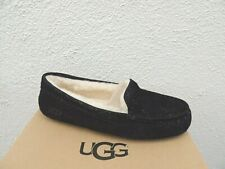 UGG BLACK ANSLEY MILKY WAY SUEDE/ WOOL MOCCASIN SLIPPERS, US 11/ EUR 42 ~NEW