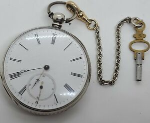 Antique Working 1800's Swiss Silver Key Wind Pocket Watch w/ Engraved Horse Case