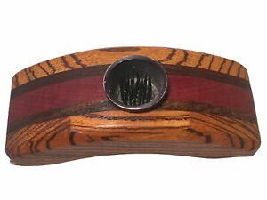 Vintage Hand Carved Two Tone Wood Ikebana Flower Vase Frog MCM Excellent