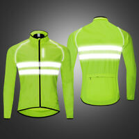 Men's Cycling Jackets High Visibility Reflective Windbreaker Hi Viz Bike Jerseys