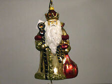 Gorgeous Fleur De Lis Santa with Sack Christmas Ornament, Poland
