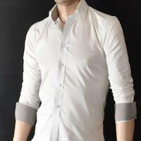 Mens White Long Sleeve Shirts Casual Formal Slim Fit Shirt 100% Cotton S M L XL