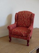Dollshouse miniature ~ RED & GOLD ~ Wing Back Chair