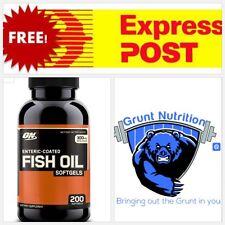 Optimum Nutrition Enteric Fish Oil 200 Softgels Omega 3 FREE EXPRESS POST