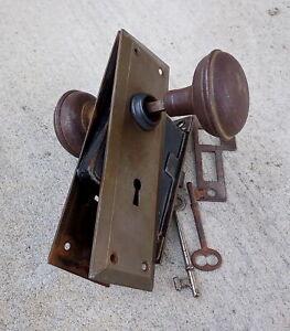 Antique Door Handle Set, Lock & Skeleton Keys