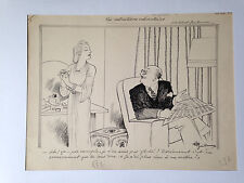Grand dessin original d'Albert Guillaume (1873-1942) daté 1941