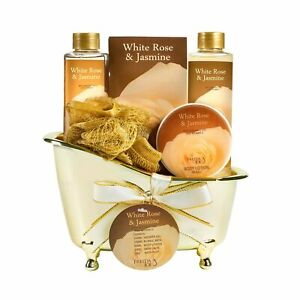 White Rose Jasmine Spa Set For Women Displayed in Elegant Gold Tub Includes S...