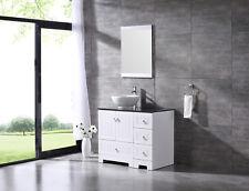 36inch Bathroom Vanity Wood Cabinet Porcelain Vessel Sink Glass Top w/Mirror Set
