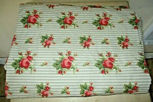 Ralph Lauren Emma Floral Stripe Blue Fitted Sheet ~ 100% Cotton ~ Made in USA!