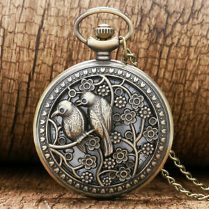 Bronze Hollow Lovely Bird Unisex Quartz Pocket Watch Necklace Pendant Chain Gift