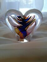 Art Glass HEART Figurine Mouth Blown Glass Crystal Multicolor Poland signed M.P.