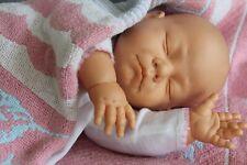 "Vintage Berjusa doll Sleeping, vinyl & cloth, 20"" life like baby w/ dress bonnet"