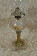 oil table lamp EAPG quilted brass stick marble base original 1860 vg antique