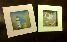 Beach Shadow Box Home Decor WALL HANGING Set picture Bath Sand Small FS