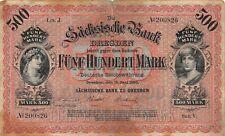Sächsische Bank zu Dresden 500 Mark 15. Juni 1890 Serie V  SAX 7 a