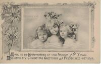 Postcard Christmas Children Three Girls Season Greetings Friend 1 Cent Stamp
