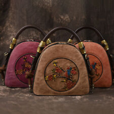 Lady's Luxury 100% Cowhide Leather Handbags Vintage Embossing Sling Shoulder Bag