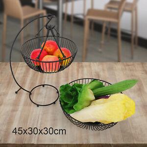 2-Tier Iron Fruit Vegetable Basket Bowl Stand Storage Kitchen w/ Banana Hook AU