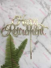Happy Retirement Acrylic Gold Mirror Party Cake Topper