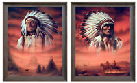Indian Chief with Tepee Native American Picture Two Set 16x20 Framed Wall Decor