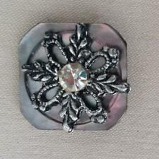 "PRINCESS SMOKE MOTHER OF PEARL - SILVER METAL ANTIQUE SQUARE BUTTONS 3/4 "" (B35)"