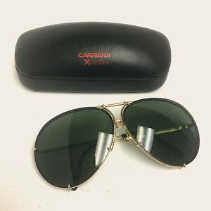 Preowned Porsche Design P8478 Polished Gold/Black Oversized Aviator Sunglasses