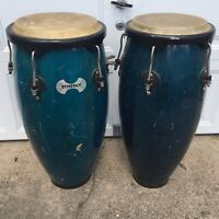 TOCA SYNERGY WOOD CONGA DRUM SET BAHAMA BLUE 10 and  11 inch Local Pickup Only