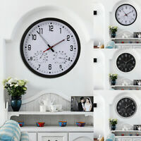 Super Silent Large Wall Clock Quartz Temperature Humidity Display Indoor Kitchen
