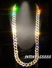 """Miami Cuban Link Chain 14k Yellow Gold Filled Iced Out Lab Diamond Necklace 30"""""""