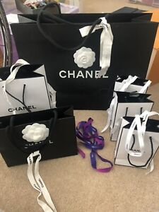 Chanel Various Different Gift Bags With Ribbons Designer Display