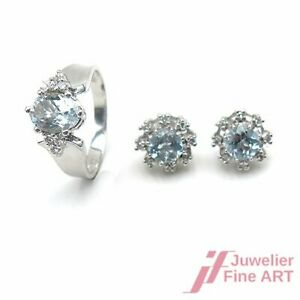 Jewelry Set - Ring And Ear Studs With Finest Aquamarine And Diamonds -18K Wg