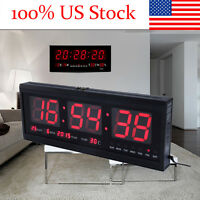 Red Digital Large Jumbo LED Wall Desk Alarm Clock Calendar Temperature Practical