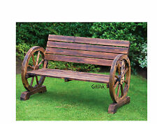 Outdoor Wooden Wagon Wheel Bench Armrest Chair Rustic Patio Furniture Love Seat