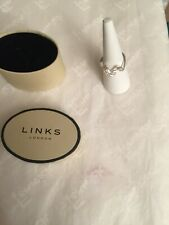 Links of London Silver & white Sapphire Entwine ring 5045 Size M 100% Authentic