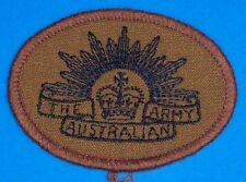 RISING SUN PATCH BROWN SHOULDER TITLE - OBSOLETE AUSTRALIAN ARMY