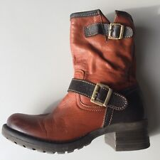Woman's Ankle Boot Genuine Contrasting Leather Classic Buckle Portugal Brown 6