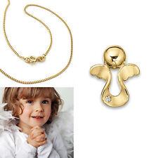 Kinder Schutz Engel Anhänger mit Zirkonia Echt Silber 925 vergoldet mit Kette