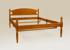 Antique Style King Size Bed Frame Tiger Maple Wood Made in American Furniture