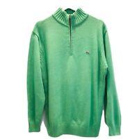 Lacoste Mens Sz 6 XL Sweater Green Mock Neck 1/4 Zip Long Sleeve 100% Cotton