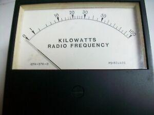 """LARGE SIMPSON WATTMETER   0-100KW  RF WATTS   4 1/2"""" W x 4"""" T  FS= 50uA. Dc."""