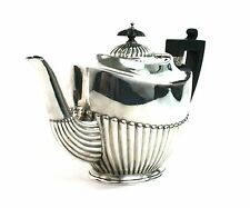 Antique Silver Plated Teapot Queen Anne Style Ebony Finial & Handle c.1900