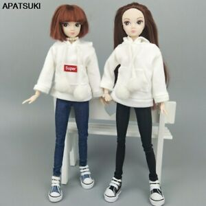 White Sweatshirt Coat Outfits Leather Pants Canvas Shoes Accessories For Barbie