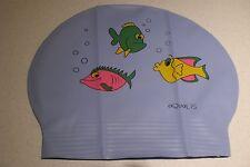 New in Bag AQUALIS  BLUE three fish print Latex Swim Cap - Swimming