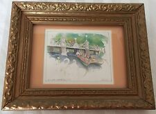 Vtg Swan Boat on the Boston Garden Pond Print Framed Signed 9x7.5 inches