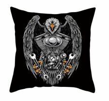 Tattoo Goth Biker Cotton Eagle Engine Bike Pillow Case Cushion Cover hardcore