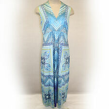 NEW One World Woman Plus Size Blue Paisley Beaded Lace Liquid Maxi Dress 2X