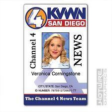 Plastic ID Card (TV Series Prop) - Veronica Corningstone ANCHORMAN KVWN