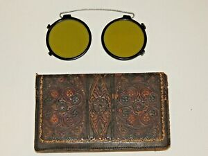 Beautiful Victorian Hand Tooled Leather Wallet w Antique Sunglasses