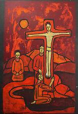 Sylvère Croix, crucifixion scène biblique religieuse Modern abstract style c1980